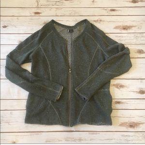Sparkle & Fade Speckled Bomber Sweater Jacket -M
